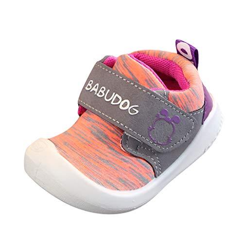 Rokoy Scarpe di Cotone per Bambini - Natale Scarpe Sportive E Ragazzi Scarpe da Corsa Ginnastica Respirabile Mesh Running Sneakers Fitness Casual/Slip-On di Tela Stampata Unisex(Arancia,19)