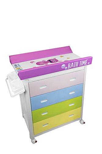 Plastimyr Banera Cajones Colores + Cambiador Bebes PLASTIMONS Rosa