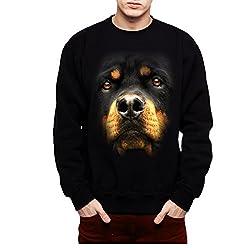 Rottweiler Face Dog Animals Men Sweatshirt S-3XL  by avocadoWEAR