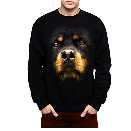 Rottweiler Pullover (Rottweiler Hund Tiere Herren Sweatshirt Schwarz 2XL)