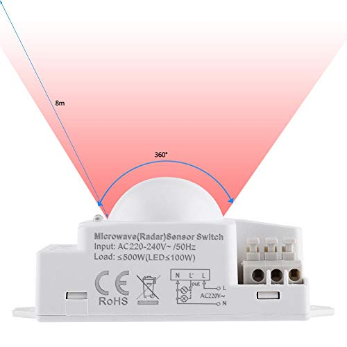Sensorlichtschalter, Tag- und Nachterkennung, Unterstützung von Sensorentfernungs- und Verzögerungseinstellungen, Radarscan-Signal für 1 St. 360-Grad-500-W-Radar-Bewegungsmelder Smart Microwave Sensor
