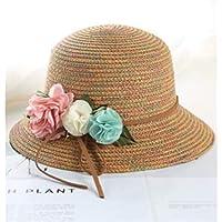 FOUGNOGKISSS Sombrero de Paja con Sombrero de Paja y Sombrero de protección Solar para niños Sombrero de Paja y Sombrero de Paja para niños (Rosa) (Color : Khaki, tamaño : Head Circumference)