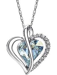 NEOGLORY Collar de Corazón Amor Love Heart con Cristales SWAROVSKI AZUL Joya Original Mujer Chica