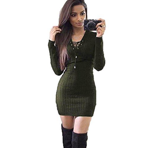 Yanhoo Damen Kleid Abendkleid Schulterfreies Cocktailkleid Jerseykleid Skaterkleid Knielang Frauen Winter Langarm Strick Bodycon Pullover Kleid (XL, Schwarz)
