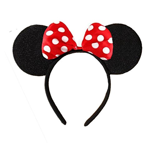 Image of Black With Red Bow & White Polka Dot Minnie Mouse Disney Fancy Dress Ears Head Band