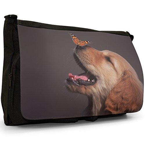 Fancy A Bag Borsa Messenger nero Golden Retriever With Butterfly on his Nose Golden Retriever With Butterfly on his Nose