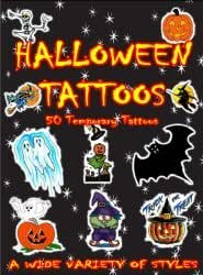 Assorted Pack of 50 Halloween Temporary Tattoos