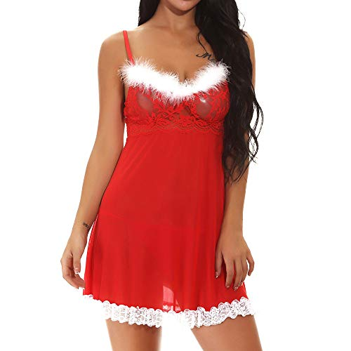 Lurcardo Sexy Dessous Erotic Set Damen Weihnachts Lingerie Sexy Transparent Negligee Dessous Set Kostüm Xmas Nikolaus Wäsche