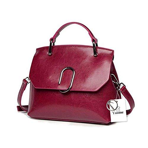 Borsa a tracolla Yoome da donna Borsa a tracolla in vera pelle vintage con tracolla in vera pelle - Nero Rosso