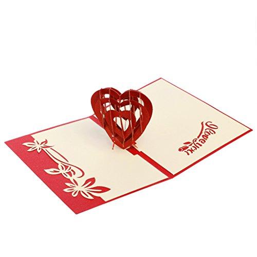 Set di biglietti di auguri 3d, cuore 3d biglietto di auguri pop up paper cut cartolina compleanno regalo per san valentino, festa