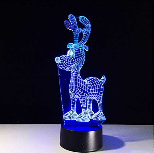 Shuyinju novità renna 3d night light creativo cervo 7 colori modifica acrilico remote touch switch 3d lampada decorazioni natalizie