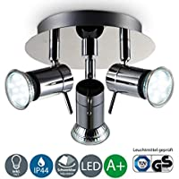 B.K. Licht plafonnier 3 spots LED orientables, plafonnier salle de bain IP44, éclairage plafond, lumière blanche chaude, 230V, IP44, 3x3W GU10