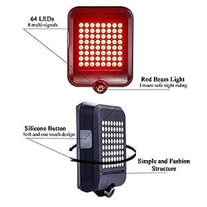 Leezo - Luz Intermitente para Bicicleta, indicador de dirección automática, luz Trasera, Carga USB, para Bicicleta de montaña y Ciclismo, Distancia Segura, Luces de carriles de Advertencia