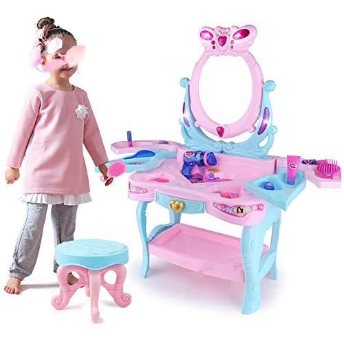 Kinder Schminktisch mit Spiegel Kinderspielhaus Spielzeug-Set Simulation Prinzessin Girl Frisiertisch 3-6 Jahre alt Puzzle Baby-Spielzeug Kinder-Schminktisch ( Farbe : Pink , Size : 46x31x82cm ) - 6-lampe-eitelkeit Licht