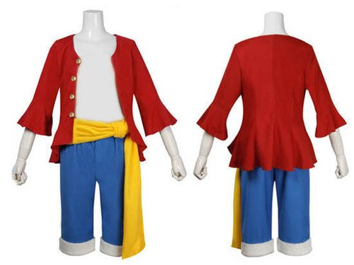 Japanische Anime One Piece Cosplay - 2 Jahre später Monkey D. Ruffy Kostüm , Größe M :(Höhe 161-165cm, Gewicht 50-60 (Monkey D Luffy Kostüm)