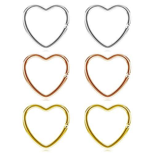 JFORYOU Cartilagine Helix Tragus Trago Orecchino finto Anelli piercing Acciaio Chirurgico Argento, Rosegold e Oro