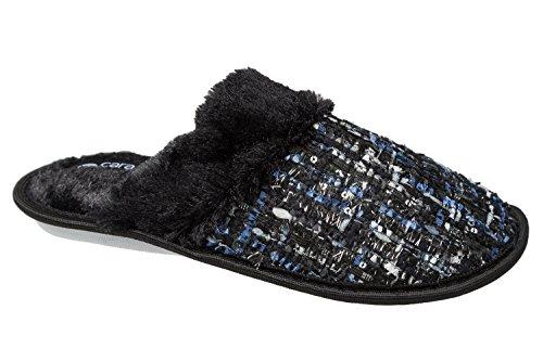 GIBRA® Damen Pantoffeln, mit weißer Sohle, schwarz/blau, Gr. 36-42 Schwarz/Blau