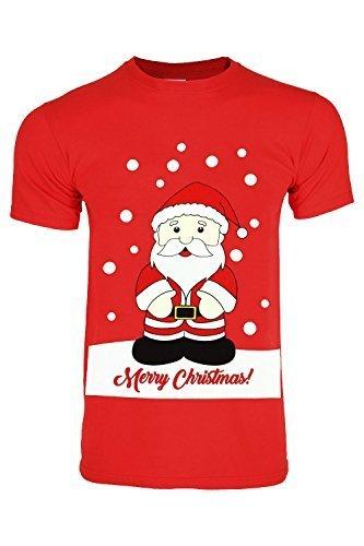 Oops Outlet Herren Weihnachten Santa Schneemann Rentier Pinguin Hupe Rundhals Kurzarm T-Shirt Pullover Top Größe S-XXL - Weihnachtsmann Merry Christmas Rot, Medium (Pinguin-kurzarm-pullover)