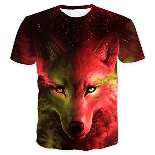 ISAAC ENGLAND Wo Licht und Dunkelheit Sich treffen T-Shirt des Wolfs 3D Top T Kurzarm-Rundhals-T-Shirt Mode-T-Shirt 4 Color-XL, Rot