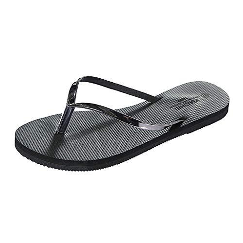 FNKDOR Schuhe Damen Zehentrenner Flip Flops Weich Hausschuhe Zuhause Badezimmer Strand Pantoffeln PVC Slipper Schwarz 40-41EU Tone Peep Toe Slingback Sandal
