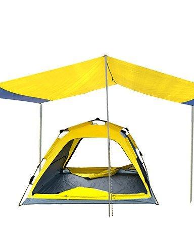 ZQ Zelt (gelb, 3bis 4Personen)–-Feuchtraum/Wasserdicht/Atmungsaktivität/Regen/Staubdicht/A Test, Gelb