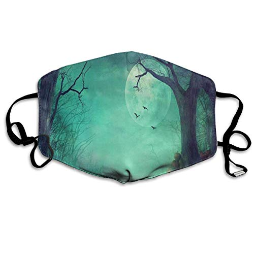 Masken für Erwachsene Cool Mask Reusable Anti Dust Face Mouth Cover Halloween Spooky Forest Dead Trees Pumpkins Mask Warm Windproof (Forest Spooky Halloween)