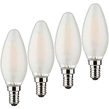 Müller-Licht–400192a + +, 7er Juego de Retro de bombilla LED Forma de Vela, equivalente a 40W, cristal, E14, color blanco, 3.5x 3.5x 9.8cm