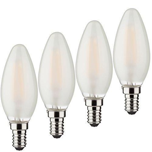 MÜLLER-LICHT 4er-SET Retro-LED Lampe Kerzenform ersetzt 15 W, Glas, E14, 1.5 W, weiß, 1,5W, 4 Stück