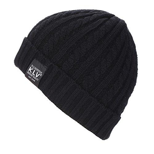 Ularma Unisex Holgados ganchillo cálido invierno lana tejer gorro de esquí (Talla única, negro)