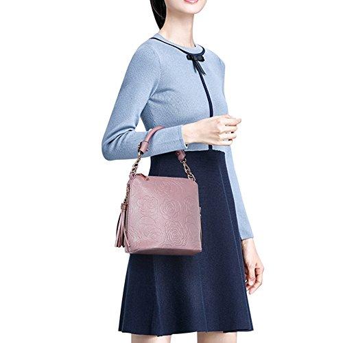 Zicac Borsa a tracolla per donne con ciondoli laterali, tematica Rose Rosa