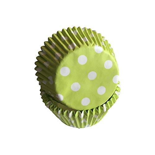 Tasty Cooky Shop Grüne Muffinförmchen/Cupcakeförmchen Limettengrün mit weißen Punkten aus Papier 50 Stück/Gratis Lieferung