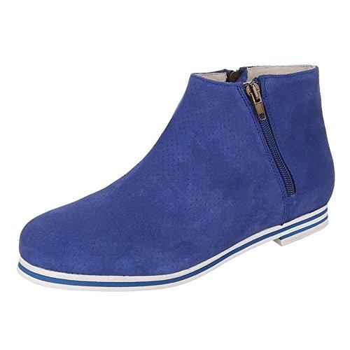 Damen Schuhe, 5186, STIEFELETTEN PERFORIERTE LEDER BOOTS Blau