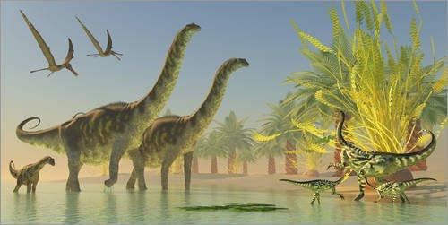 Póster 180 x 90 cm: Deinocheirus dinosaurs watch a group of Argentinosaurus walk through shallow waters. de Corey Ford / Stocktrek Images - impresión artística de alta calidad, nuevo póster artísti...