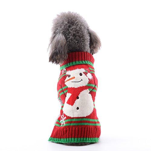 PETCARE Pet Hund Pullover Weihnachten Schneemann Rot Pullover Puppy Winter Warm XMS Urlaub Festival Strickwaren Outfit Kostüm für Kleine Hunde Katze, M, Schneemann