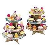 Lalia Etagere silber 3 stöckig, stabiler Karton, Einweg Geschirr. Für Cupcakes, Torten, Hochzeitstorte. Perfekt für jede Party, Taufe, Geburtstag oder zur Hochzeit. Pappetagere - 2