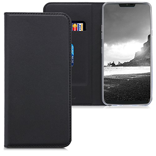 kwmobile LG G7 ThinQ/Fit/One Hülle - Kunstleder Handy Schutzhülle - Flip Cover Case für LG G7 ThinQ/Fit/One - Schwarz