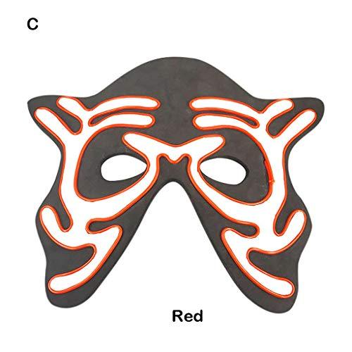 Kostüm Mieten Festival - Huacat Halloween Maske LED Masken Glow Scary Mask Leuchten Tanzmaske Fasching Festival Party Cosplay