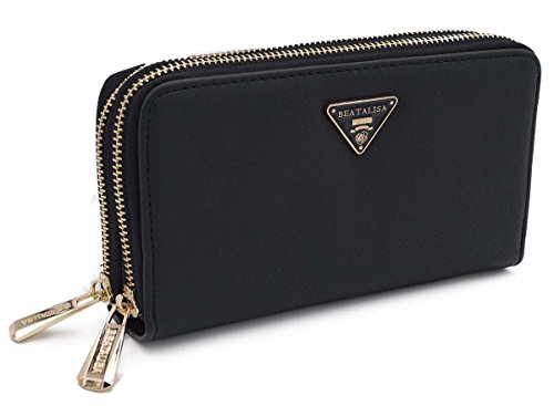 Doppel-portemonnaie (Designer Damen Geldbörse Reißverschluss Portemonnaie Geldtasche Beatlisa XXL Doppel ReissverschlussMotiv (Schwarz))