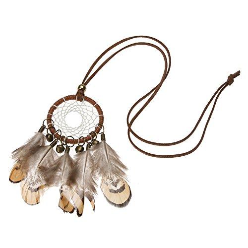 Collar con cadena de atrapasueños de plumas de campana nacional india