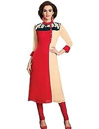 Jaune Women's Georgette Anarkali Kurti (Red)