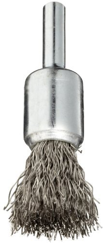Weiler Wire End Brush, Solid End, Round Shank, Stainless Steel 302, Crimped Wire, 1/2 Diameter, 0.014 Wire Diameter, 1/4 Shank, 25000 rpm (Pack of 1) by Weiler