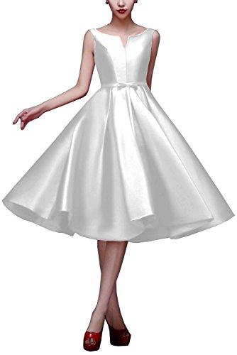 Bridal_Mall -  Vestito  - linea ad a - Senza maniche  - Donna Bianco