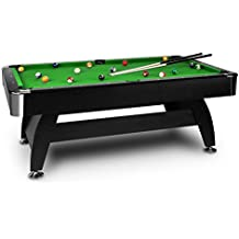 oneConcept Brighton Black • mesa de billar • mesa de pool • madera DM • chapa de cerezo • recubrimiento verde • 16 bolas de plástico • 2 tacos • triángulo • cepillo • 2 x tizas • ajustable • negro
