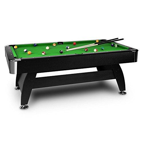 oneConcept Brighton Black Billardtisch 7 Spieltisch Pooltisch (Nussholz-Optik, 122x82x214 cm, Zubehörset wie Kugelsatz 16-tlg., 2x Queue, Ballrücklauf) grün