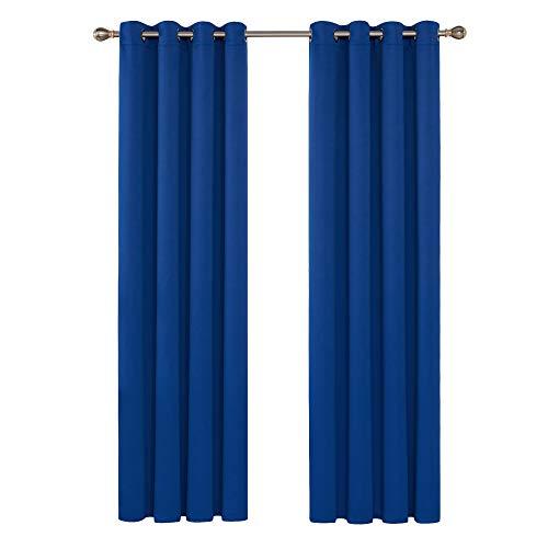 Deconovo Tende Oscuranti Termiche Isolanti Tende Oscuranti con Occhielli per Finestre Soggiorno Interni 140X290 CM Blu Elettrinico 2 Pannelli