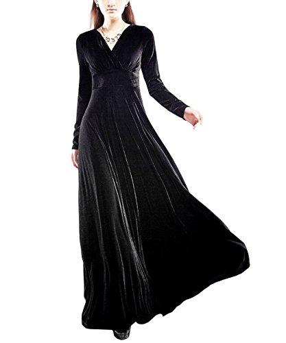 KAXIDY Damen Langes Kleid V-Ausschnitt Lange Langarm SAMT Abendkleider Partykleider Cocktailkleider (Medium, Schwarz)