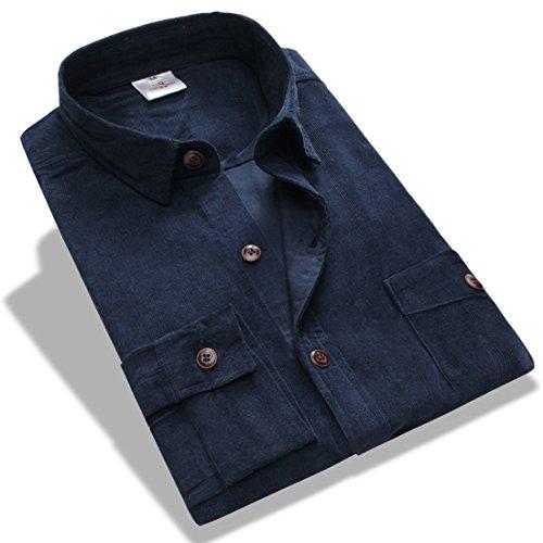 Men's Camisa Masculina Long Sleeve Dress Shirts Blue1