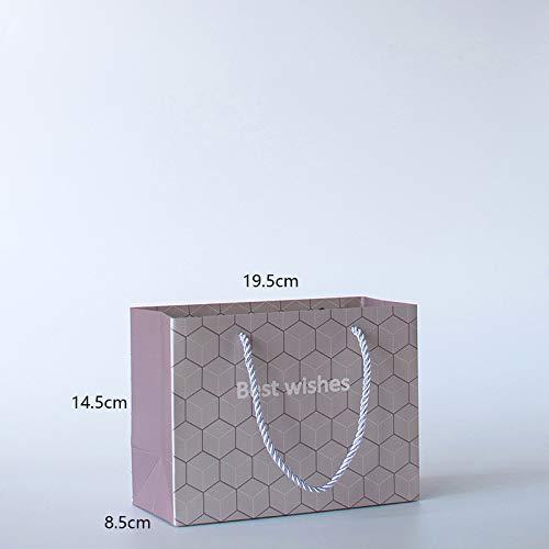 Hohe Qualität beste Wünsche Shopping Geschenkbeutel mit Ribbon Griffen Verpackung (Farbe : Purple gray, Größe : 19.5 * 14.5 * 8.5cm)