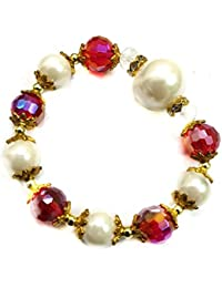 Turqueesa Pearl Beads Coloured Elastic Stretchable Bracelet - Metallic Red For Women And Girls