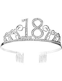 Tiara Cumpleaños Corona 18TH con Peine Artículos de Fiesta y Decoraciones Accesorios Plata Cristal Diademas Mujer Princesa Feliz Cumpleaños